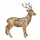 Dekofigur Hirsch stehend in Antik-Gold matt, 16 cm