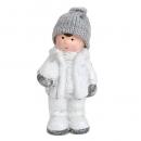 Deko Winter Junge mit Strickmütze und Schneeball in Weiß/Grau glitzernd, 12 cm