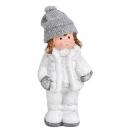 Deko Winter Mädchen mit Strickmütze und Schneeball in Weiß/Grau glitzernd, 12 cm