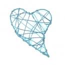 Draht Herz geschlossen in Mintblau