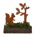 Eichhörnchen und Baum, Naturrost auf Baumstamm, 97 mm