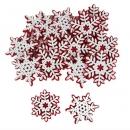 16 Holz Eiskristalle, Schneeflocken mit Filzuntergrund in Weiß/Rot, 65 mm