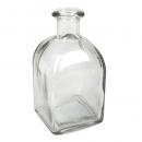 Glas Flaschenväschen, für einzelne Blumen, quadratisch, 13 cm