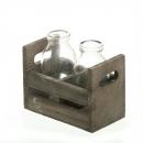 2 Flaschen Väschen im rustikalen Holzgestell, 12,5 cm