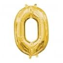 Folien Zahlenluftballon 0 in Gold, ohne Helium verwendbar