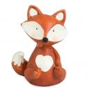 Dekofigur Fuchs mit Herz in Rot-Braun/Creme Nr. 1, 10,5 cm