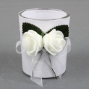Gastgeschenk Hochzeit, Teelichtglas mit Rosen, inkl. Teelicht, 60 mm