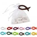 Gastgeschenk Organzasäckchen mit Gefühlssteinen und Fisch in 12 Farben