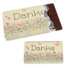 Gastgeschenk Schokolade -Danke- Blumenwiese und Schmetterlinge