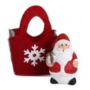 Gastgeschenk Weihnachtsmann in Filztasche mit Geschenk, 60 mm