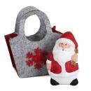 Gastgeschenk Weihnachtsmann in Filztasche mit Geschenkesack links, 60 mm