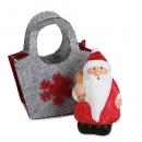 Gastgeschenk Weihnachtsmann in Filztasche mit Geschenkesack rechts, 60 mm
