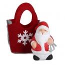 Gastgeschenk Weihnachtsmann in Filztasche mit Glöckchen, 60 mm