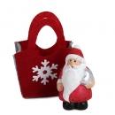 Gastgeschenk Weihnachtsmann in Filztasche mit Stern, 60 mm