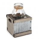 Glas Väschen in Holzbox mit Wellblech, 7 cm