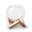 Glas Kugel, Windlicht auf Holzgestell, 11 cm