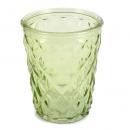 Glas Windlicht, Vase mit Rautenstruktur in Grün, 12,5 cm