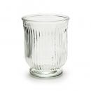 Glas Windlicht, Vase mit Streifen, klar, 13,5 cm