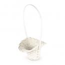 Hochzeit Blumenkörbchen aus Bambus in Creme-Weiß, 19,5 cm