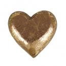 Holz Herz geschnitzt in Antik-Gold,  50 mm