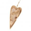 Holz Herz zum Aufhängen mit Glöckchen in Weiß mit roten Punkten, 14 cm