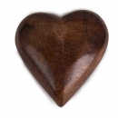 Holz Herz geschnitzt in Dunkelbraun,  50 mm