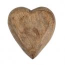Holz Herz geschnitzt in Hellbraun,  50 mm
