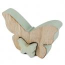 Puzzlefigur, 2 Holz Schmetterlinge ineinander steckbar in Mint, 11 cm