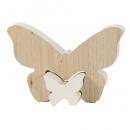 Puzzlefigur, 2 Holz Schmetterlinge ineinander steckbar in Weiß, 11 cm