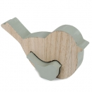 Puzzlefigur, 2 Holz Vögel ineinander steckbar in Mint, 9 cm