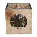 Holz Windlicht mit Teelichtglas, Hirsch im Wald, 70 mm