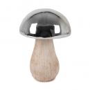 Großer Keramik Pilz in Creme/Silber, 15 cm