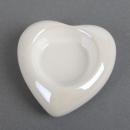 Keramik Teelichthalter Herz in Weiß mit Perlmuttglanz, 79 mm