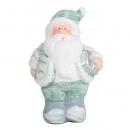 Keramik Weihnachtsmann in Mintgrün/Grau mit Geschenk in Silber, 11 cm