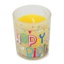 Kerzenglas -Happy Birthday- in Gelb