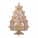 Holz Weihnachtsbaum mit Eiskristallen in Hellbraun/Gold glitzernd, 25 cm