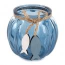Glas Windlicht mit Holz Fischanhänger, in Dunkelblau, 11 cm
