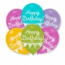 6er Pack Luftballons Happy Birthday in bunten Metallic Farben