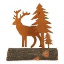 Metall Hirsch und Tannen auf Baumstamm, naturgerostet, 14,5 cm