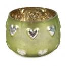 Teelichtglas Hochzeit Herzen verspiegelt in Grün, 75 mm