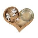Holz Herz Weihnachtswald in Gold/Weiß mit Teelichtglas klar, 12,8 cm