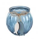 Teelichtglas mit Holz Fischanhänger, in Dunkelblau, 75 mm