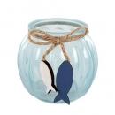 Teelichtglas mit Holz Fischanhänger, in Hellblau, 75 mm