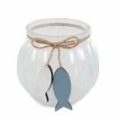 Teelichtglas mit Holz Fischanhänger, in Weiß, 75 mm