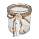 Teelichtglas, Windlicht mit Holzfisch, Muscheln und Sisalkordel, klar, 80 mm