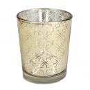 Teelichtglas mit Ornamenten in Gold, verspiegelt, 65 mm, Nr. 1