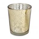 Teelichtglas mit Ornamenten in Gold, verspiegelt, 65 mm, Nr. 2