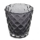 Teelichtglas mit Rautenmuster in Anthrazit, 72 mm