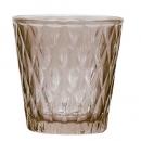 Teelichtglas mit Rautenmuster in Braun, 75 mm
