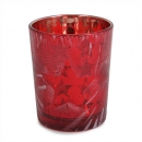 Teelichtglas Weihnachten mit Sternenmotiv in Rot verspiegelt, 68 mm